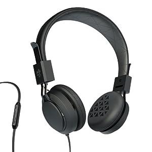 JLab INTRO Premium On-Ear Headphones, with Universal Mic (Black)