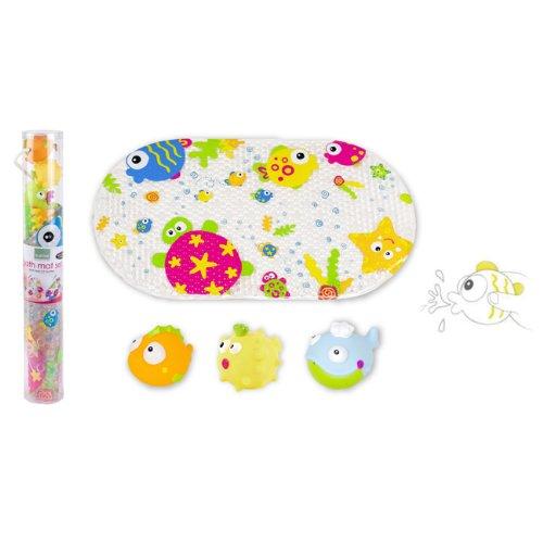 Kushies Baby 4 Piece Bath Mat And Squirter Set, Marine