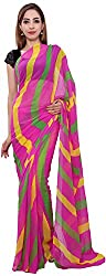 SR Couture Women's Georgette Saree with Blouse Piece (Multi-Coloured)