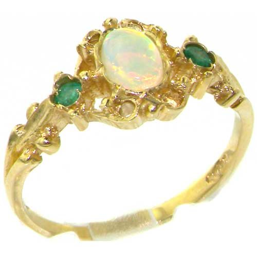 Luxury Solid Yellow Gold Natural Opal & Emerald Victorian Style Ring - Size 10 - Finger Sizes 4 to 12 Available