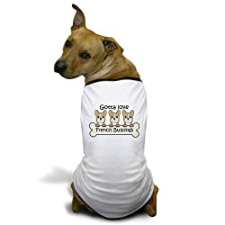 CafePress Three French Bulldogs Dog T-Shirt - L White by CafePress