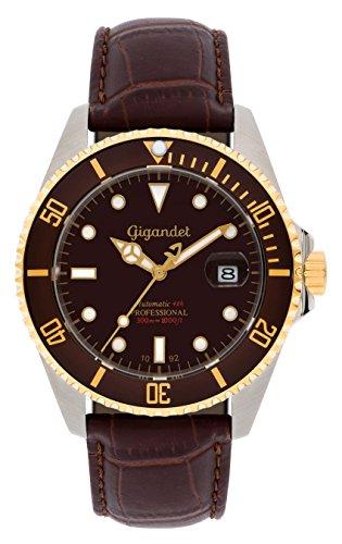 Gigandet Reloj de Hombre Automático Sea Ground Reloj de Buceo Analógico Cuero Marrón G2-019