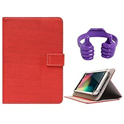 DMG Protective 7in Flip Book Cover Case for Lenovo A3500-HV/A7-50 (Red) + Tablet Holder Hand Stand