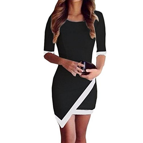 Fortan Bandage Bodycon del partito da sera estate donne sexy del mini vestito irregolare (small, Nero)