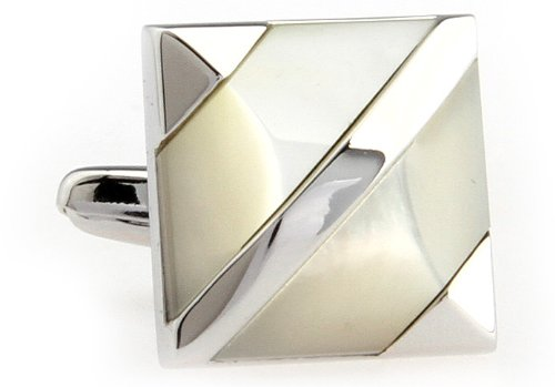 Mother of Pearl with Silver Band Stripes Cufflinks Cuff Links