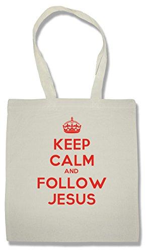 Keep Calm And Follow Jesus Faccia Borse Riutilizzabili Per La Spesa | Shopping Bag For Groceries