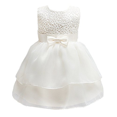 Mini Kitty Baby Girls Dresses Pageant Bow Formal Dress,White,12-15 Months