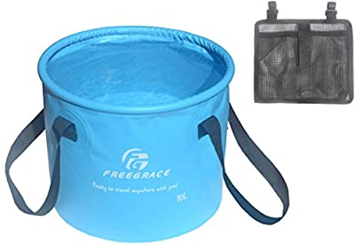Freegrace® #1 Best Collapsible Bucket on Amazon! Multifunctional Collapsible Bucket -Folding Bucket Made of Top Premium Waterproof Material -For Normal Temperature Water -Perfect Gear For Camping, Fishing, Car, Hiking, Travel, Washing Dishes, Hauling Wat