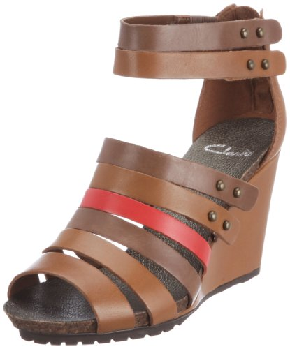 Clarks Sequin Sparkle Fashion Sandals Womens Brown Braun (Tan Combi Lea) Size: 4 (37 EU)