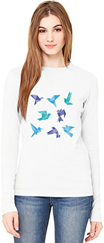 Blue Origami Birds T-Shirt da Donna a Maniche Lunghe Long-Sleeve T-shirt For Women| 100% Premium Cotton Ultimate Comfort X-Large