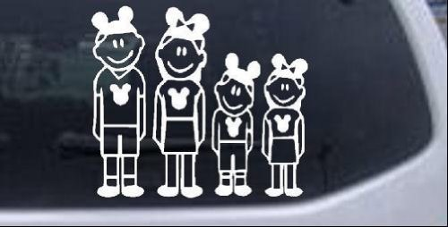 6in X 5.4in White — Mickey Mouse Disney 2 Kids Stick Family Stick Family Car  Window Wall Laptop Decal Sticker