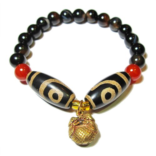 Tibetan 2 Dragon Eyes Protection Dzi Bead Bracelet, with 8mm Black Agate Beads and Unique Twin Tiger Tibetan Brass Pendant