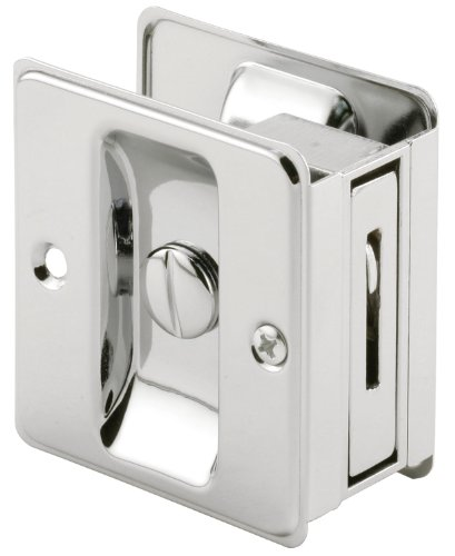 Prime-Line Products N 6773 Pocket Door Privacy Lock with Pull, Chrome Plated