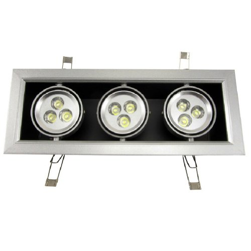 Brightsky 9W White Led Grille Light Spotlight Downlight Square Ceiling Lamp Recessed Bulb Ac 85-265V