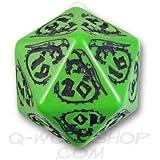 1 (One) Single D20 Q Workshop: Carved Dragon D20 Dice / Die (Green & Black)