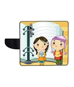 KolorEdge Printed Flip Cover For Asus Zenfone 2 -Multicolor (55KeMLogo09679Zen2)