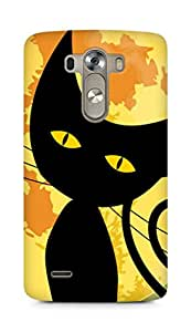 Amez designer printed 3d premium high quality back case cover for LG G3 (Black Cat Halloween)