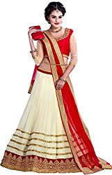 Khazanakart Exclusive Designer Red Color Georgette Fabric Un-stitched Lehenga Choli With Chiffon Dupatta Material.