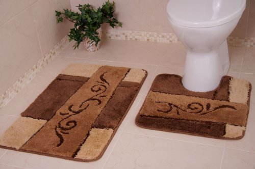 Chocolate Brown Washable Non-Slip Shaggy Bathroom Rug 2 Piece Set 2 Sizes