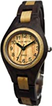 Tense Ladies Solid Walnut Maple Round Hypo-Allergenic Wood Watch L7509WM