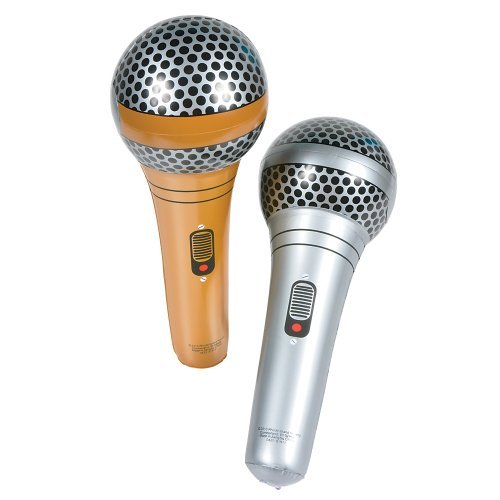 Gold And Silver Microphones Inflatables (1 Dz)