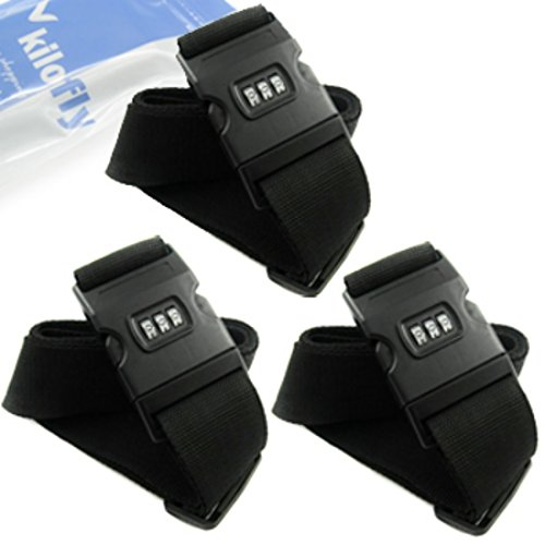 kilofly 3 Dial Combination Lock Luggage Strap [Set of 3]