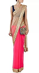 OMKAR CLUB Beige And Pink Net And Georgette Saree