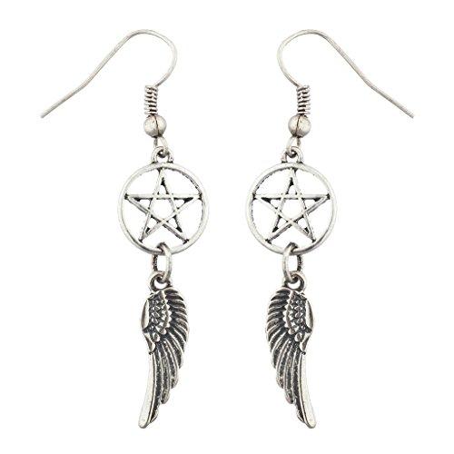 Lux accessori Burnish Silver Rock Star Pentagram Ali gancio orecchini pendenti