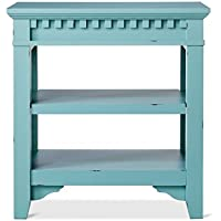 Arman Distressed Wood Side End Table Night Stand Blue 25
