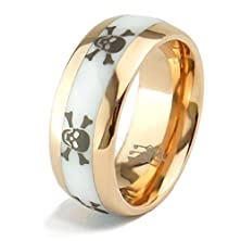 buy Three Keys Jewelry 8Mm Men Tungsten Carbide Ring Inlay White Ceramic Wedding Engagement Band Rose Gold Dome Etched Punk Skull Size 11