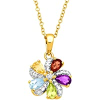 Finecraft 1 1/6 ct Multi-Gem Pinwheel Flower Pendant