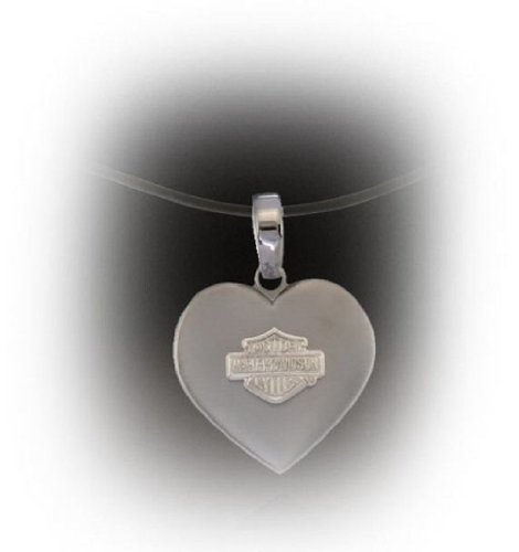 Harley-Davidson® Stamper® Women's Titanium Heart Necklace 20-Inch Stainless Bead Chain. TN065/ST