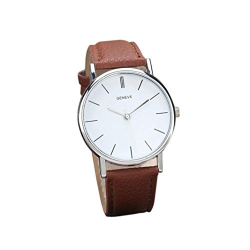 Unisex Retro Design Brown Leather Band Analog Alloy Quartz Wrist Watch. A clean design with classic roman numerals.
