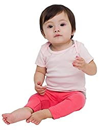 American Apparel Kids Infant Baby Rib Short Sleeve Lap T Size 12-18M Light Pink