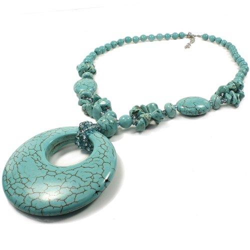 Turquoise Beads Necklace and Pendant - Circle Pendant Accent