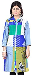 Fashionx blue pure cotton printed medium length kurti