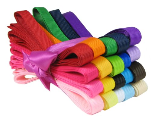 "Hip Girl Boutique 40yd (20x2yd) 3/8"" Solid Grosgrain Ribbon Value Pack"