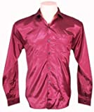 Men's Thai Silk Shirt Long Sleeved / Sleeves in Burgundy Size XXL
