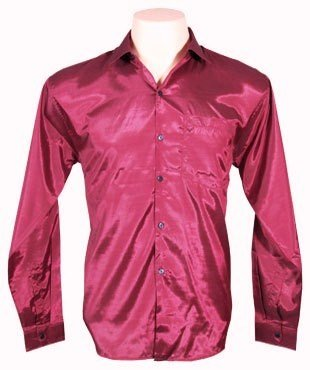 Men's Thai Silk Shirt Long Sleeved / Sleeves in Burgundy Size XL