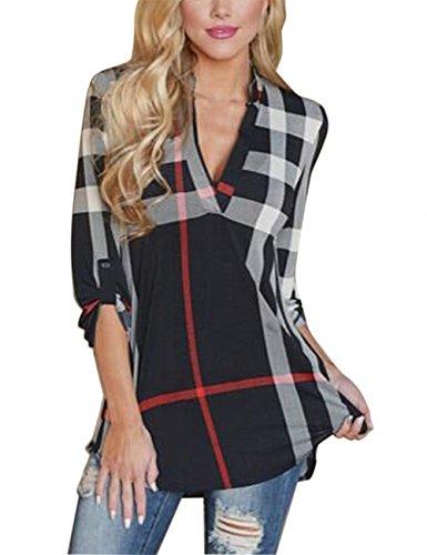 isassy-womens-v-neck-chiffon-striped-plaid-long-sleeve-casual-loose-blouses-tops-t-shirts-black-xluk