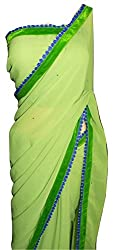 KC Latest Saree Designer Georgette with Stone New Border Saree with Blouse On Sale
