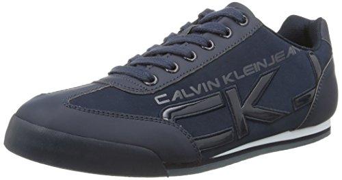 Calvin Klein Cale Matte Smooth/Patent- Sneaker basse uomo, colore Blu (Blu (Navy)), taglia 43 EU (9 UK)