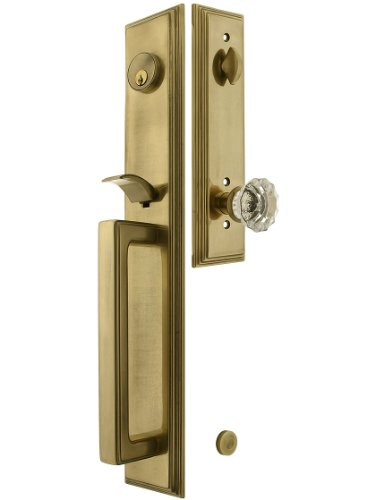 Melrose Style Tubular Handleset In Antique Brass With Astoria Knob And 2 3/4 Backset. Antique Handles. front-1063823