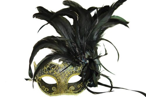 Black and Gold Finish Venetian Mask with Classy Mardi Gras Decor and Side Feathers