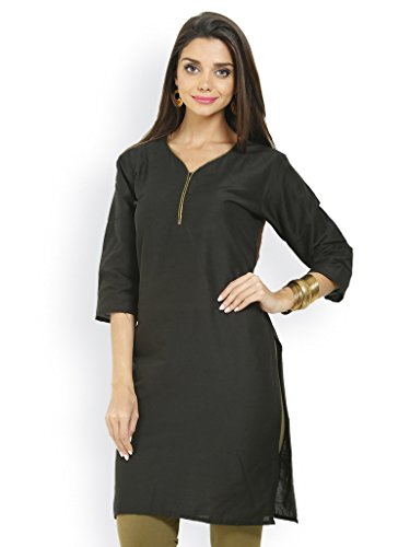 HiFi Women's Ethnic Style 3/4 Sleeves Cotton Kurti-Black Colour