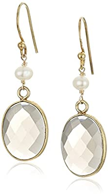 buy Gold Over Silver Faceted Smoky Quartz Oval Bezel With White Freshwater Cultured Pearl Drop Earrings
