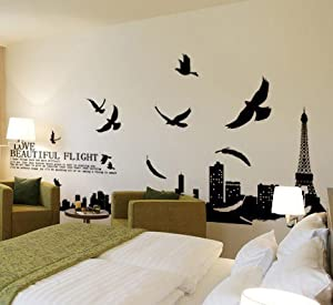 Princess' Dream - Paris Eiffel Tower living room removable quote vinyl wall decals stickers XY1002 by Bonamart