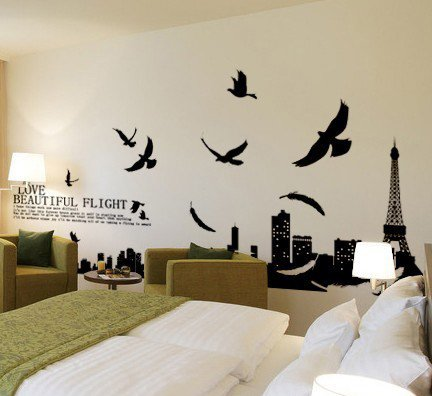 Paris eiffel tower living room removable quote vinyl wall for Living room quote stickers