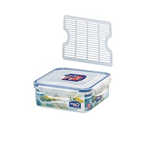 Lock&Lock Rectangular BPA Free Food Container with Leak Proof Locking Lid and Drainer Tray, 3.6-Cups, 29 Fluid Ounce