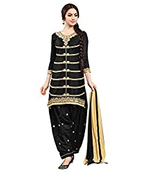 Ladies4Zone Design Women's Georgette Dress Material ( LZ4005_Free Size_Black)
